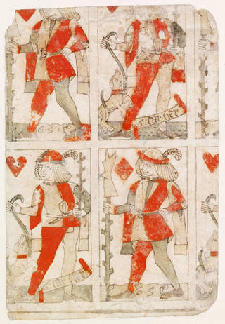 Photo of Uncut playing cards, woodcut with stencil, Gilles Savouré, 1490 – 1500, France. Museum no. E.988-1920. © Victoria and Albert Museum, London