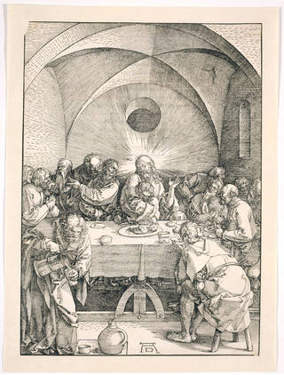 Photo of The Last Supper, from the Large Passion series, woodcut, Albrecht Dürer, 1510, Germany. Museum no. E703-1940. © Victoria and Albert Museum, London