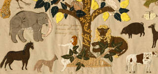 Patchwork hanging (detail), Ann West, 1820, England. Museum no. T.23-2007. © Victoria and Albert Museum, London