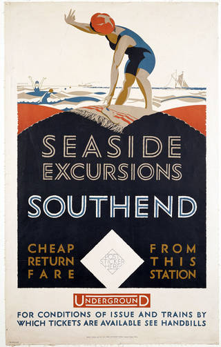 Photo of Seaside Excursions: Southend, lithograph poster, designed by Frederick Charles Herrick for Underground Electric Railways Co. of London, Ltd., printed by Baynard Press, 1925, England. Museum no. E.582-1926. © Victoria and Albert Museum, London