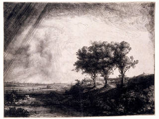 Photo of The Three Trees, etching and drypoint, Rembrandt von Rijn, 1643, The Netherlands. Museum no. CAI.610. © Victoria and Albert Museum, London