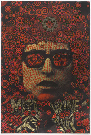 Photo of Mister Tambourine Man, screen printed poster, designed by Martin Richie Sharp, 1967, England. Museum no. E.7-1968. © Victoria and Albert Museum, London