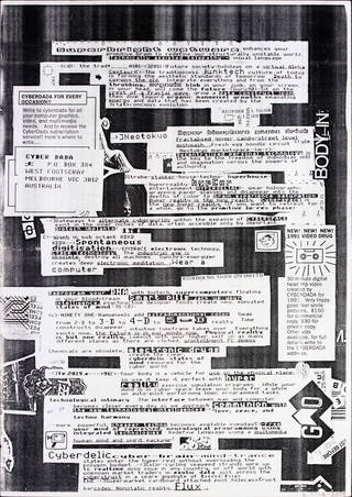 Photo of Cyber Dada Manifesto, photocopy, Troy Innocent and Dale Nason, 1990, Australia. Museum no. E.1111:4-2008. © Victoria and Albert Museum, London. Given by the American Friends of the V&A through the generosity of Patric Prince