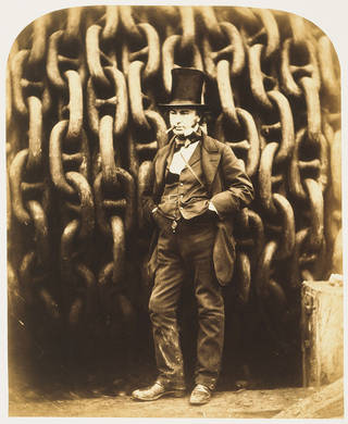 Isambard Kingdom Brunel and the Launching Chains of the Great Eastern, by Robert Howlett, 1857, England, albumen print from wet collodion on glass negative. Museum no. PH.246-1979. Purchased, 1979. © Victoria and Albert Museum, London