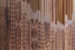 naqsh collective (nisreen and nermeen abudail), shawl detail, 2015, walnut wood, paint and brass. Images courtesy of naqsh collective. Photo: Nabil Qutteineh