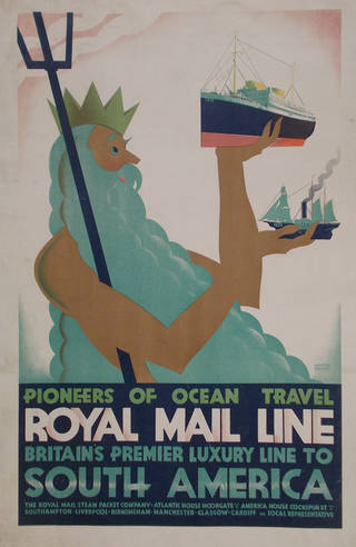 Pioneers of Ocean Travel, poster, Austin Cooper, 1928, England. Museum no. E.1477-1929. Given by C. G. Holme. © Victoria and Albert Museum, London