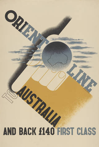 Orient Line to Australia, poster, Edward McKnight Kauffer, 1934, England. Museum no.  E.1068-2004. Gift of the American Friends of the V&A; Gift to the American Friends by Leslie, Judith and Gabri Schreyer and Alice Schreyer Batko. © Victoria and Albert Museum, London