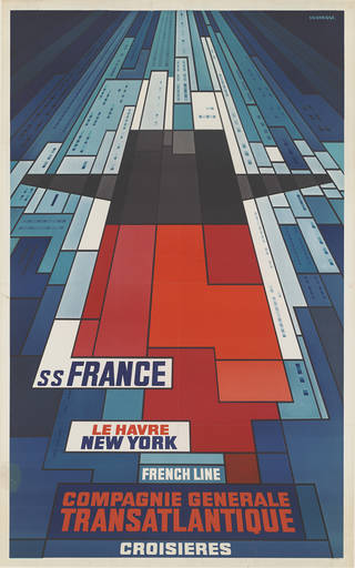 SS France Compagnie Generale Transatlantique, poster, John Bainbridge, about 1968, France. Museum no. E.250-1981. © Victoria and Albert Museum, London