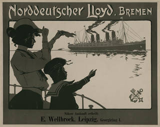 Poster for the Norddeutscher Lloyd Bremen shipping line, Fritz Rehm, 1903, Germany. Museum no. E.939-1966. © Victoria and Albert Museum, London