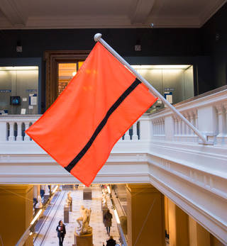 Photo of Refugee flag, designed by Yara Said, commissioned by the Refugee Nation with the support of Amnesty International, Film Aid, Makers Unite and U-able, 2016. © Victoria and Albert Museum, London