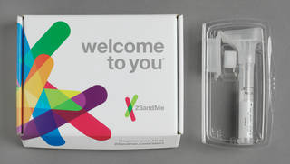 Photo of Personal Genome Service – v4 Ancestory Edition, personal genetic testing kit, manufactured for 23andme by DNA Genotel Inc., 2014, Ottawa, Canada. Museum no. CD.59:1 to 6-2014. © Victoria and Albert Museum, London