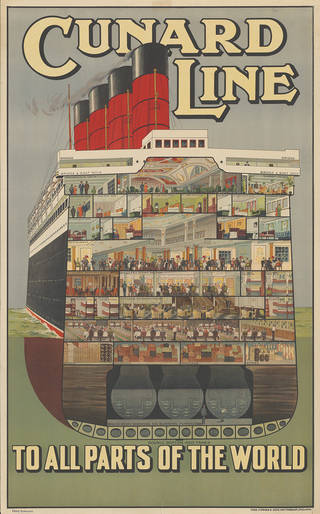 Cunard Line – to all parts of the world, poster, Ulrich Gutersohn, about 1920, England. Museum no. E.1829-2004. Gift of the American Friends of the V&A; Gift to the American Friends by Leslie, Judith and Gabri Schreyer and Alice Schreyer Batko. © Victoria and Albert Museum, London