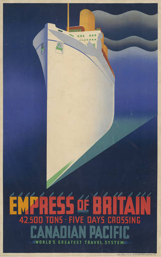 Empress of Britain, poster, J.R. Tooby, 1931, possibly Canada. Museum no. E.2215-1931. Given by the Canadian Pacific Railway Co. © Victoria and Albert Museum, London