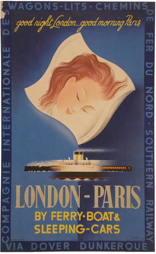 London to Paris by Sleeping Car and Ferry Boat, poster, Paolo Federico Garretto, 1936, France. Museum no. E.832-1936. Given by the Southern Railway Co. © Victoria and Albert Museum, London