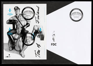 Photo of Tom of Finland stamps, made and retailed by Itella Posti Oy, 2014, Finland. Museum no. CD.54:1-7-2014. © Victoria and Albert Museum, London