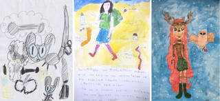 Commended (left to right):  'Bedward' by Aurelia Till, aged 4 | 'Miss Bea' by Béa Langley, aged 3 | 'Fontaine and Daffodil' by Maisy Witcombe, aged 9