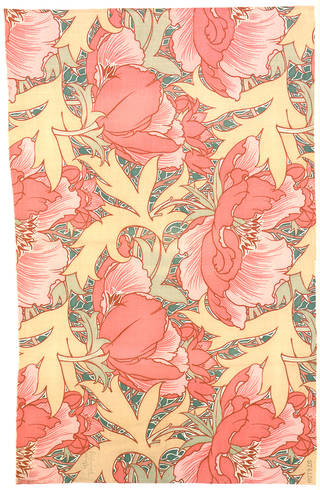 Photo of Poppies furnishing fabric, designed by Lindsay Phillip Butterfield for Turnbull & Stockdale Ltd., 1901, England. Museum no. CIRC.270-1958. © Victoria and Albert Museum, London
