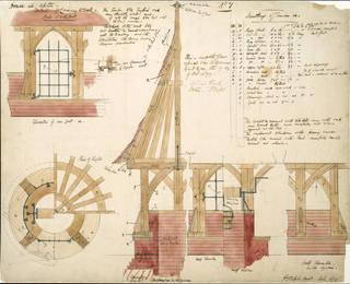Photo of Architectural drawing of the Red House, Philip Webb, 1859, England. Museum no. E.64-1916. © Victoria and Albert Museum, London