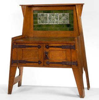 Photo of Washstand, designed by Leonard F. Wyburd and William De Morgan, manufactured by Liberty & Co. Ltd. and William De Morgan, about 1894, England. Museum no. W.19-1984. © Victoria and Albert Museum, London
