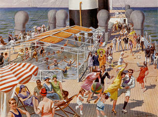 Deck activities on Augustus, Augustus Navigazione Generale Italiana, brochure, printed by Richter & C., Naples, Italy, 1927. Howard galvin steamship ephemera collection, Phillips Library, Peabody Essex Museum