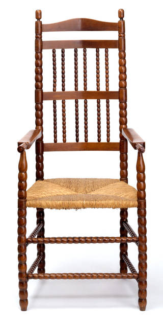 Photo of Armchair, designed by Ernest William Gimson, made by Edward Gardiner, about 1905, England. Museum no. CIRC.231-1960. © Victoria and Albert Museum, London