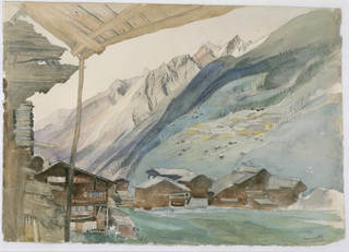 Photo of Zermatt, watercolour, John Ruskin, 1844, Switzerland. Museum no. P.15-1921. © Victoria and Albert Museum, London