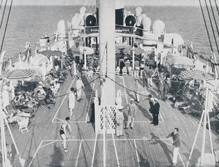 The deck of an Italian liner from 'Sports e giuochi a bordo' (Sports and games on board), brochure produced by Navigazione Generale Italiana, 1930 – 5. Museum no. 38041800870073. © Victoria and Albert Museum, London