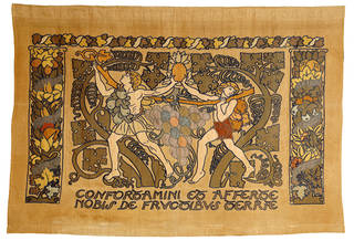 The Spies, panel, designed by Godfrey Blount, embroidered by Haslemere Peasant Industries, about 1900, England. Museum no. T.218-1953. © Victoria and Albert Museum, London