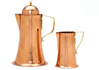 Pair of jugs, designed by Arthur Stansfield Dixon, made by Birmingham Guild of Handicraft, about 1895, England. Museum nos. CIRC.344 to 345A-1955