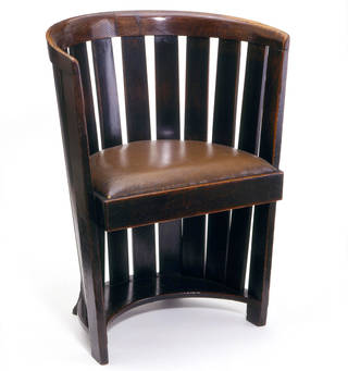 Chair, designed by Charles Rennie Mackintosh, made by Francis Smith, about 1907, Scotland. Museum no. CIRC.128:1-1958