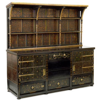 Sideboard, designed by Philip Webb, made by Morris, Marshall, Faulkner & Co., about 1862, England. Museum no. CIRC.540:1 to 5-1963. © Victoria and Albert Museum, London