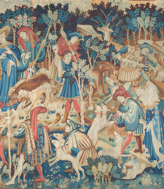 Photo of The Devonshire Hunting Tapestries (detail), unknown, 1425 – 1430, Netherlands. Museum no. T.204-1957. © Victoria and Albert Museum, London