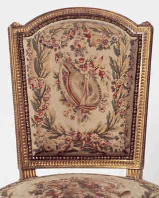 Photo of Chair with tapestry cover, Georges Jacob and Jean-Baptiste-Claude Sené, 1780 – 90, France. Museum no. 1086-1882. © Victoria and Albert Museum, London