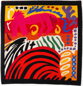 Photo of Pink Horse and Fried Egg, tapestry, Marta Rogoyska, 1979 – 80, England. Museum no. T.54-1985. © Victoria and Albert Museum, London