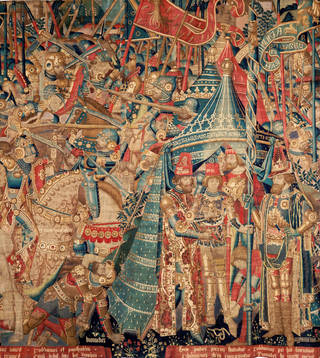 Photo of The War of Troy (detail), tapestry, unknown,  1475-1490, Belgium. Museum no.  6-1887. © Victoria and Albert Museum, London