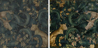 (Left) Front and (right) back of tapestry fragment, woven in wool with silk highlights, unknown, 1550 – 1600. Museum no. 862-1894. © Victoria and Albert Museum, London.