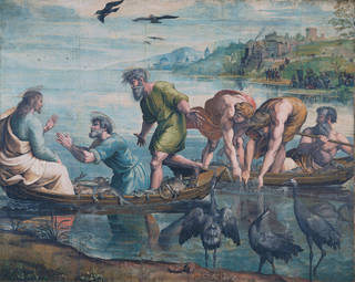Raphael Cartoon, The Miraculous Draught of Fishes: Luke Chapter 5: Verses 1–11, body colour on paper laid on to canvas, Raphael, 1515 – 16, Italy. Museum no. ROYAL LOANS.2. On loan from HM Queen Elizabeth II. © Victoria and Albert Museum