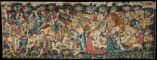Boar and Bear Hunt, from the Devonshire Hunting Tapestries, tapestry woven in wool, unknown, 1425 – 30, Netherlands. Museum no. T.204-1957. © Victoria and Albert Museum, London