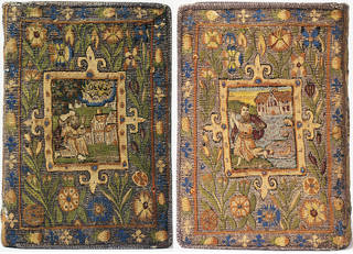 Front (left) and back (right) bible cover, tapestry woven in silk, metal & gilt-metal thread, Sheldon Tapestry Workshops, about 1615, England. Museum no. T.45-1954. © Victoria and Albert Museum, London