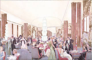 Grand Salon of the Normandie, plate from L'Illustration, special issue on the Normandie, by J. Simont, 1935.