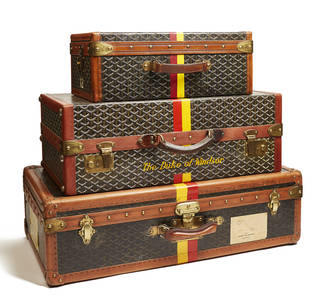 Luggage previously owned by the Duke of Windsor, Maison Goyard, 1940s. © Miottel Museum, Berkeley, California