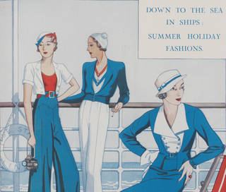 'Down to the Sea in Ships: Summer Holiday Fashions', (detail), illustration by Pat Charles, from 'The Sketch', 22 June 1932. National Art Library 38041800931198. Victoria and Albert Museum, London
