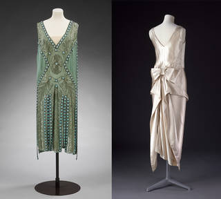 Left: Salambo dress owned by Miss Emilie Grigsby, Jeanne Lanvin. 1925, France.  Museum no. T.151&A-1967. Given by Lord Southborough. © Victoria and Albert Museum, London. Right: Evening dress owned by Miss Emilie Grigsby, unknown, 1920 – 2, US. Museum no. T.172-1967. © Victoria and Albert Museum, London