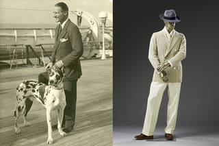 Left: Anthony J. Drexel Biddle Jr on board a liner with his Great Dane Okay. Photograph courtesy of Mr and Mrs Anthony J. Drexel Biddle III. Right: Day suit belonging to US diplomat Anthony J. Drexel Biddle Jr, 1940s, possibly tailored in the UK or US. Museum no. T.133:1 to 8-2015. Given by Mr and Mrs Anthony J. Drexel Biddle III. © Victoria and Albert Museum, London