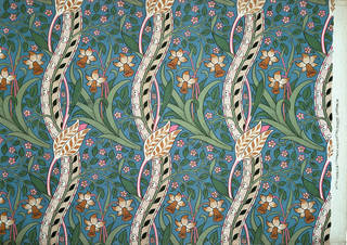 Daffodil furnishing fabric, designed by John Henry Dearle, manufactured by Morris & Co., about 1891, England. Museum no. T.623-1919. © Victoria and Albert Museum, London