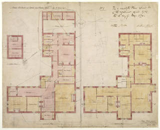 Ground plan and upstairs plan for the Red House, Philip Speakman Webb, 1859, England. Museum no. E.59-1916. © Victoria and Albert Museum, London