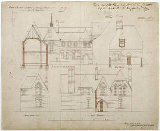 North, south and detail elevation drawing for the Red House, Philip Speakman Webb, 1859, England. Museum no. E.60-1916. © Victoria and Albert Museum, London