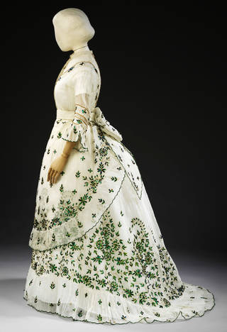 Cotton muslin dress with green beetle-wing and metal thread embroidery