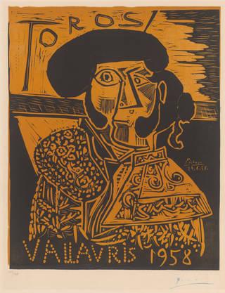 Toros Vallauris, colour lino-cut, Pablo Picasso, 1958. Museum no. E.1-1959. © Victoria and Albert Museum, London/Picasso Foundation