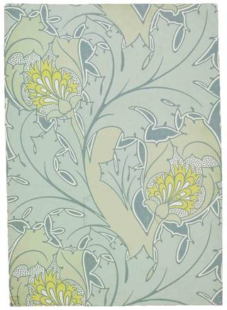 Photo of The Iolanthe wallpaper, designed by Charles Voysey, manufactured by Essex & Co., about 1897, England. Museum no. E.1899-1953. © Victoria and Albert Museum, London